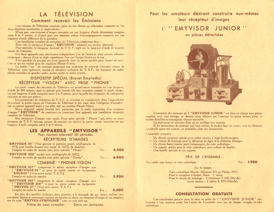 Brochure EMYRADIO 1936